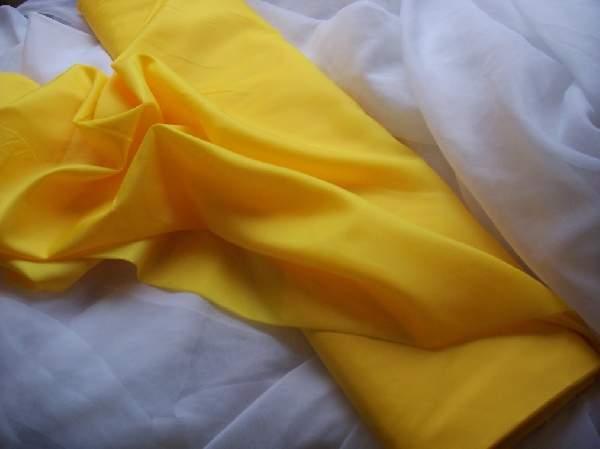 sárga selyem dekoranyag  150 cm széles (méterre)