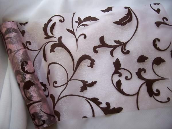 rózsaszín-barna inda mintás organza (47 cm * 5 m)
