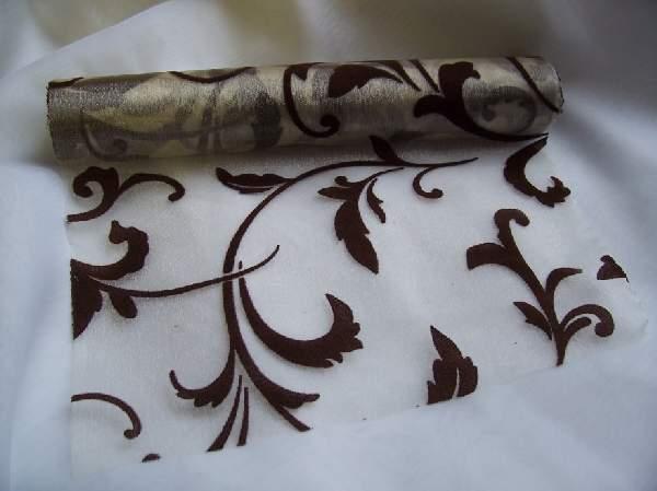 inda mintás krém alapon csoki organza (24 cm * 5 m)-076/044