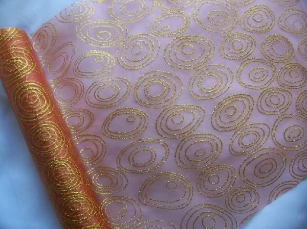 Terra alapon arany csillámos organza (38 cm * 4,5 m)