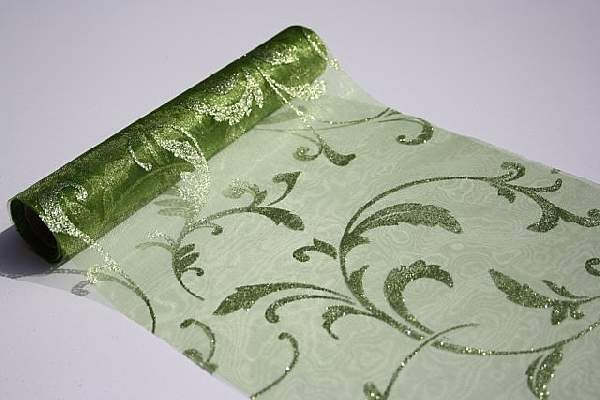 zöld alapon csillámos inda mintás organza(24 cm * 5 m)
