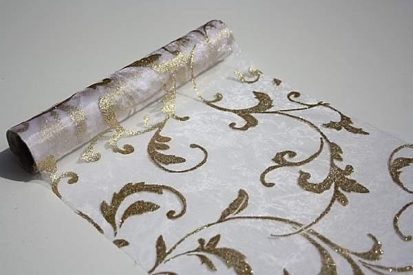 fehér alapon arany csillámos inda mintás organza(47 cm * 5 m)