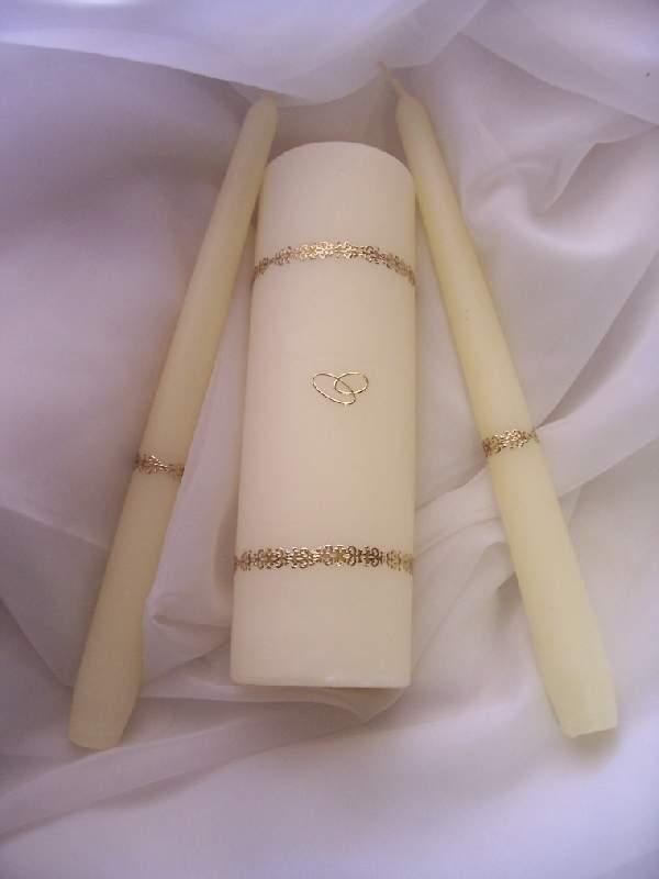 esküvői gyertyaszett 22. krém (3 részes )
