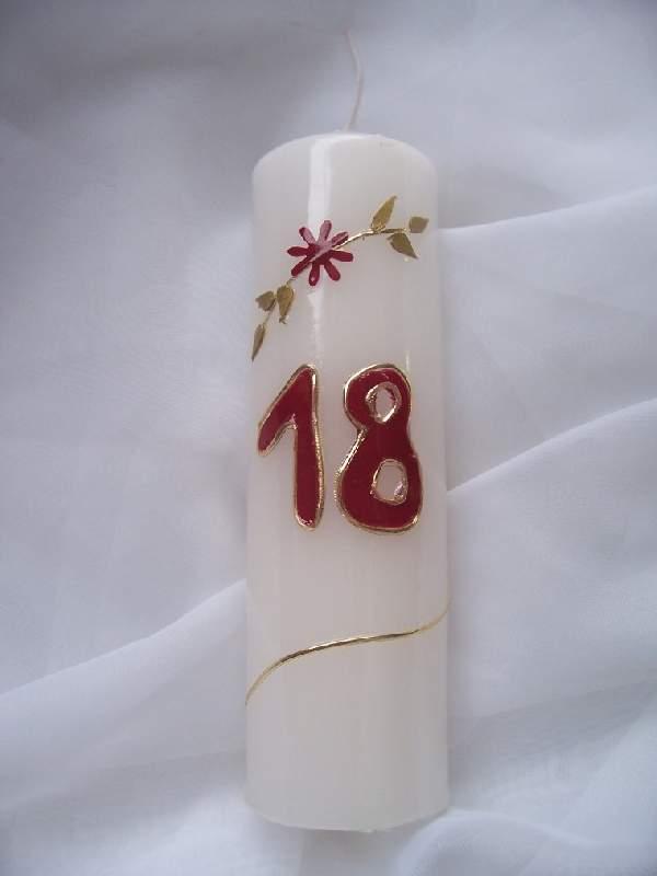 évszámos gyertya 18, egyedi kézi munka (15 cm)
