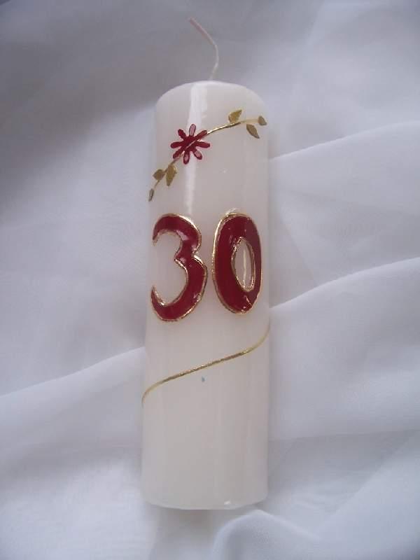 évszámos gyertya 30., egyedi kézi munka (15 cm)