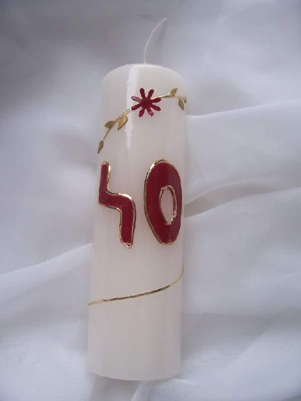 évszámos gyertya 40., egyedi kézi munka (15 cm)