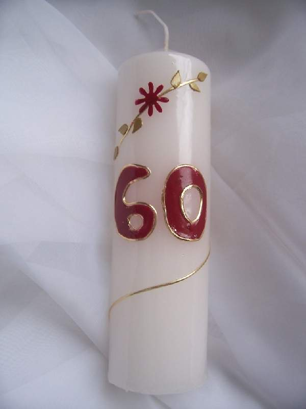 évszámos gyertya 60., egyedi kézi munka (15 cm)
