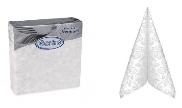 Textil hatású,  mintás fehér szalvéta (40*40) -50 db-GASTRO