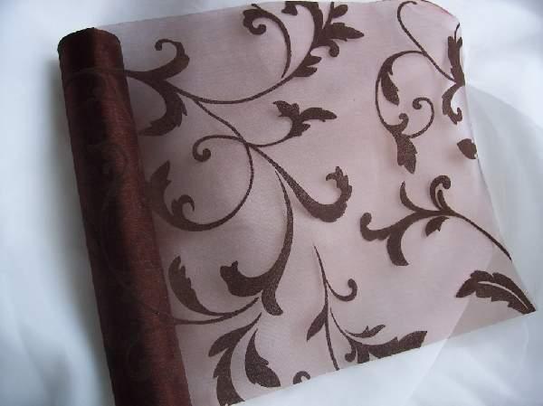 inda mintás csokibarna organza (24 cm * 5 m)-044