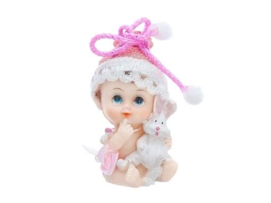 Bébi kislány nyuszival (6 cm)