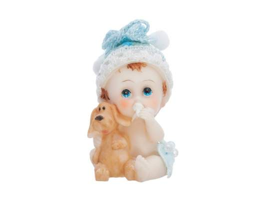 Bébi kisfiú kutyussal (6 cm)