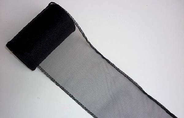 fekete 11 cm * 10 m organza