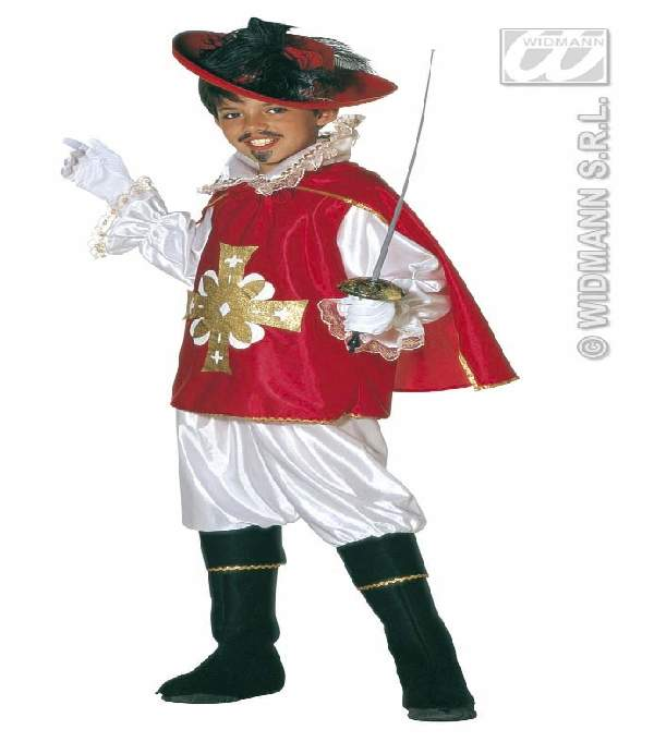 Muskétás gyerek farsangi jelmez piros (158 méret)