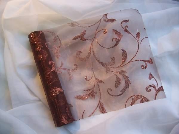 barna alapon barna csillámos inda mintás organza(24 cm * 5 m)