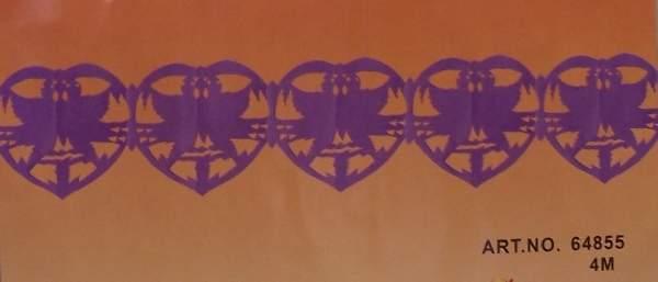 galam+szív girland 4 m, lila(64855)