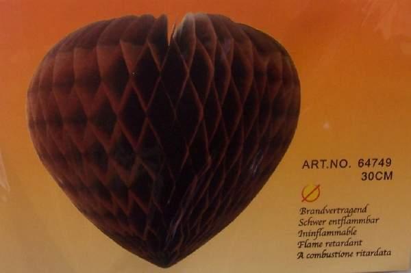 szív 30 cm, barna (64749