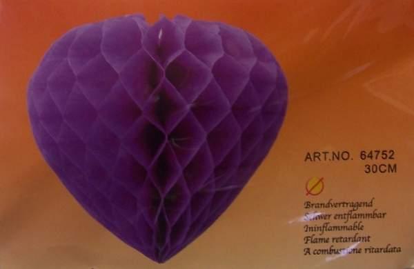 szív 30 cm, lila (64752)