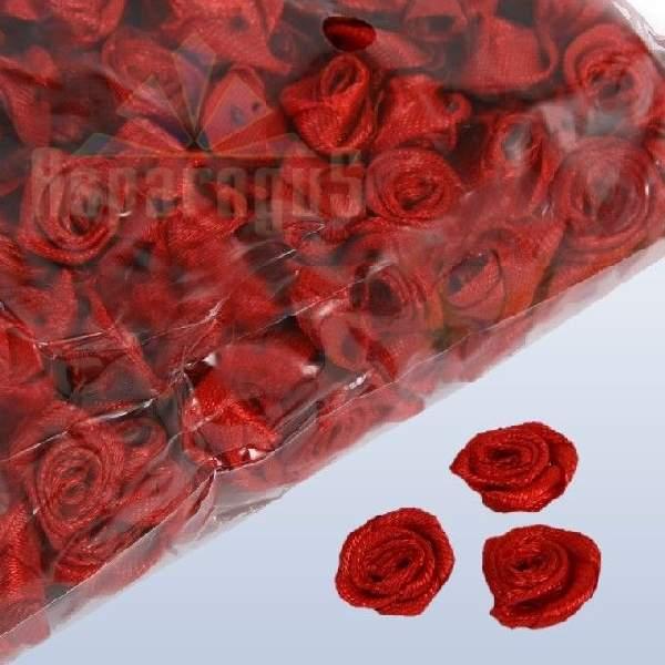 szatén rózsafej 1,2 cm, bordó (50 db)