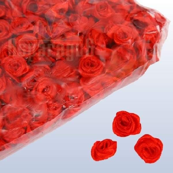 szatén rózsafej 1,2 cm, piros (50 db)
