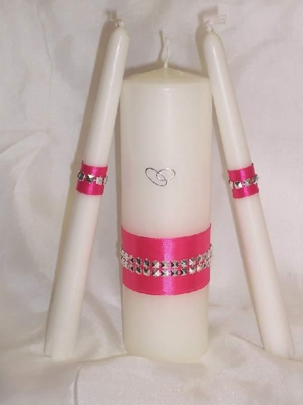 esküvői gyertyaszett különleges, pink (3 részes)