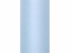 világoskék tüll dekoranyag 15 cm x 9 m   puha