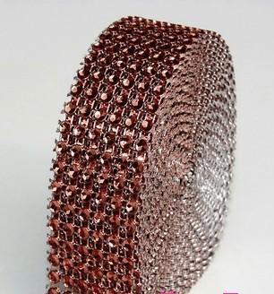 strassz dekorszalag 3 cm *4,5 m - barna (044)