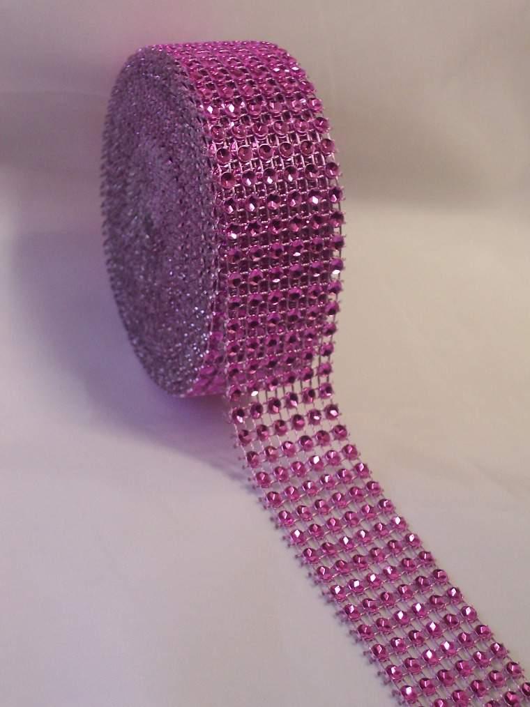 strassz dekorszalag 3 cm *4,5 m - rózsaszín (086)