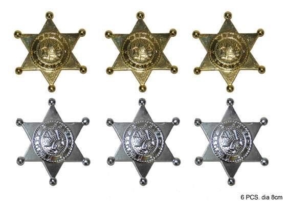 Sheriff, cowboy csillag, 6 db (65024)