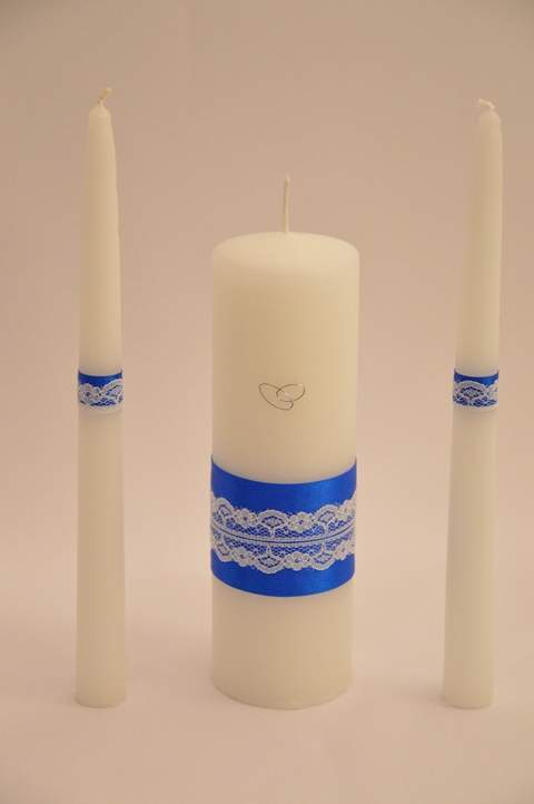kék alapon csipkés esküvői gyertyaszett (3 részes)