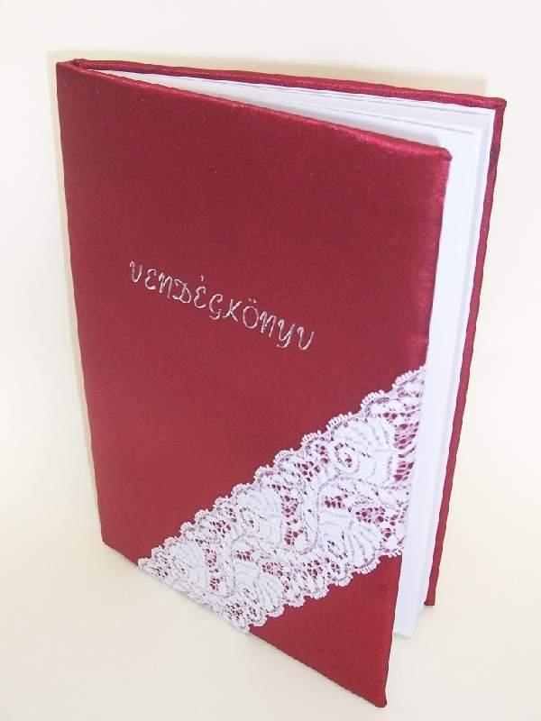 esküvői vendégkönyv A5  bordó selyem (sima,70 lapos) csipkével-