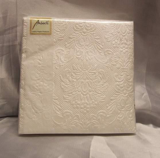 gyöngyház fehér dombornyomott desszert szalvéta (15 db) AMB-5507