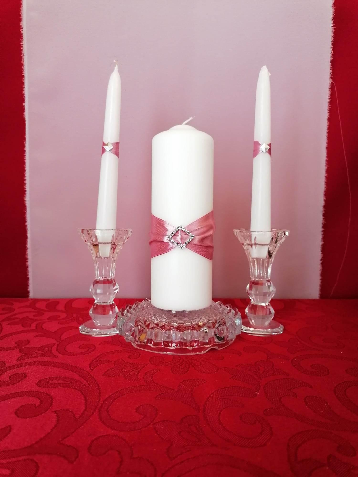 esküvői gyertyaszett 3 részes , mályva