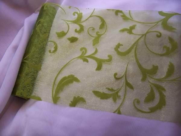 inda mintás zöld(moha) organza (24 cm * 5 m)-047