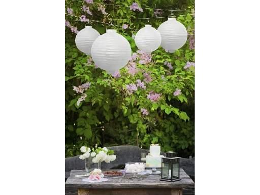 Lampion gömb világító, LED, fehér (20 cm)