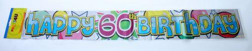 60. évszámos Happy Birthday fólia felirat (3,6 m)