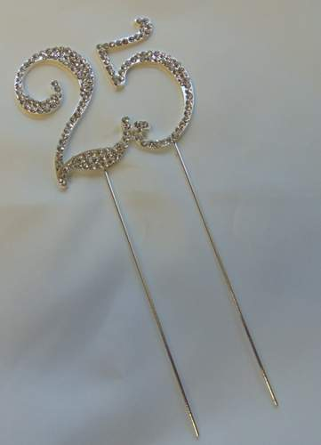 strasszos tortadísz 25. ezüst (8*18 cm)