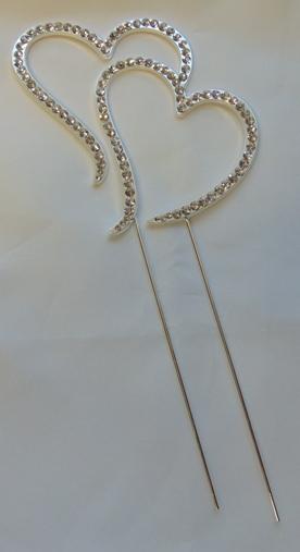 strasszos tortadísz szívpár ezüst (8*18 cm)