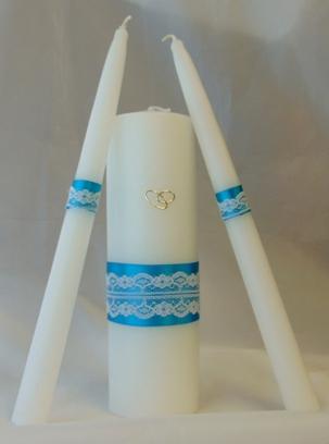 esküvői gyertyaszett csipkés türkiz (3 részes)