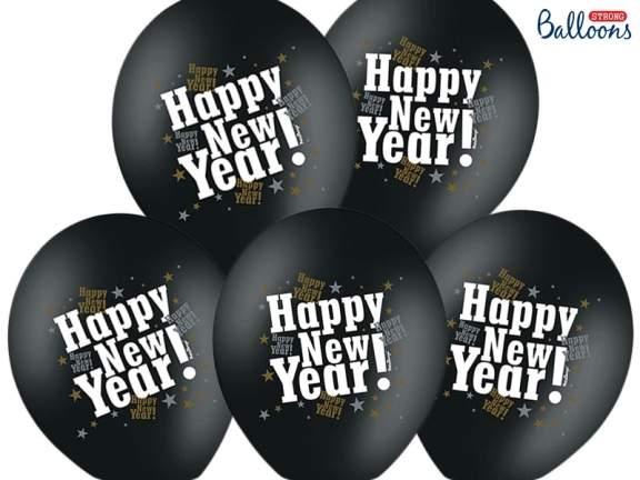 Happy New Year lufi (fekete-arany)-5 db