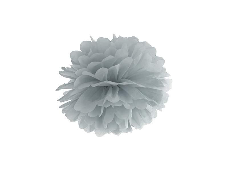 papír gömb / pom-pom (35 cm átmérő ) ezüstszürke-091