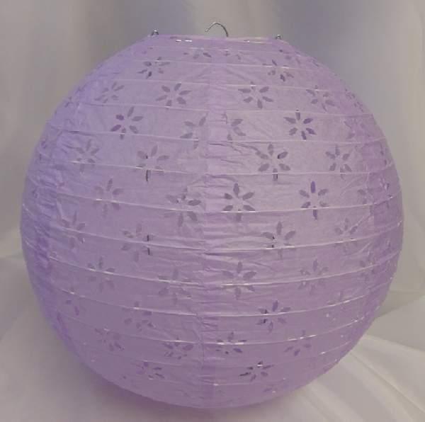 lila, csipkés papír lampion gömb 30 cm-es