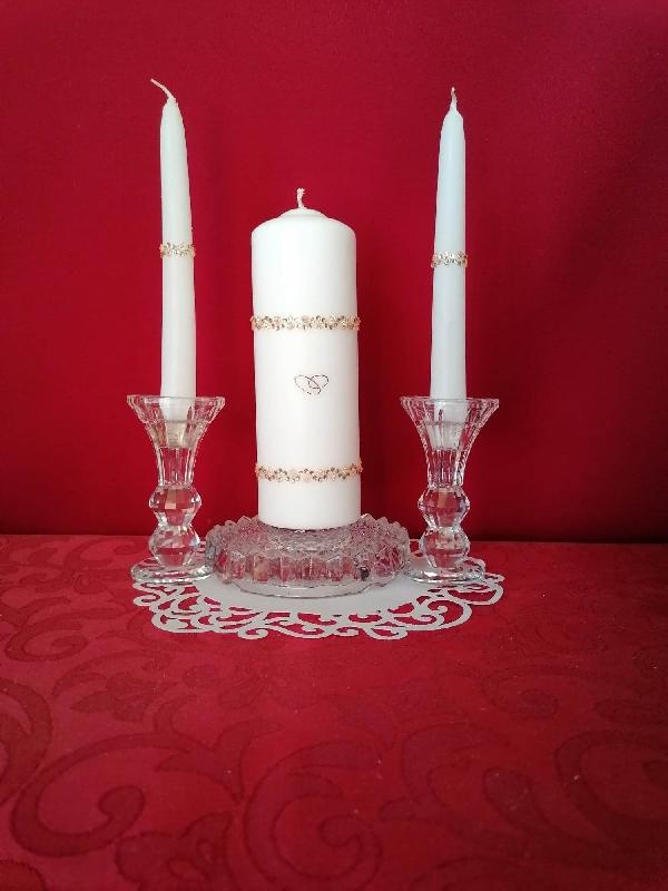 esküvői gyertyaszett 22. fehér (3 részes ) arany díszítéssel