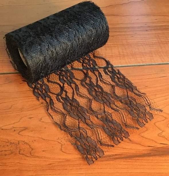 fekete csipke dekoranyag (10 cm * 9,3 m)
