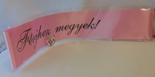 Vállszalag + kitűző férjhez megyek, rózsaszín