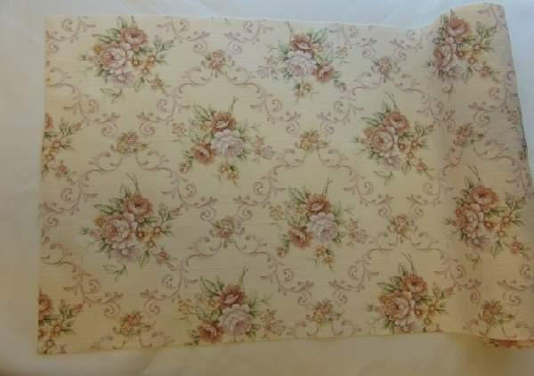 vintage, juta, rózsás asztali futó (30 cm x5 m)-YH-30-247