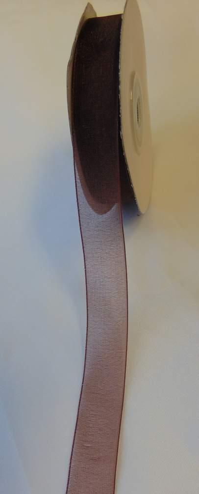 organza szalag 1,5 cm x 22,86 m,csoki (044)