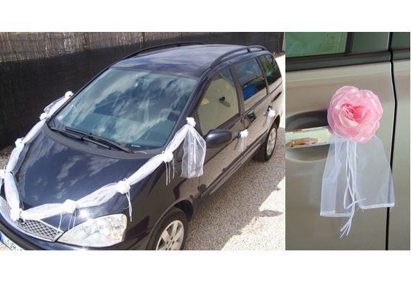 Esküvői autódekorációs szett (öntapadós), rózsaszín rózsákkal