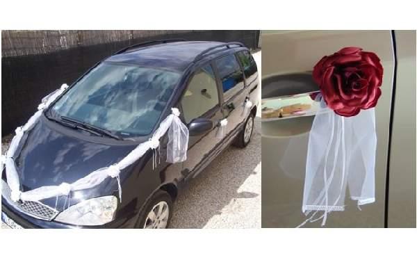 Esküvői autódekorációs szett (öntapadós), bordó rózsákkal