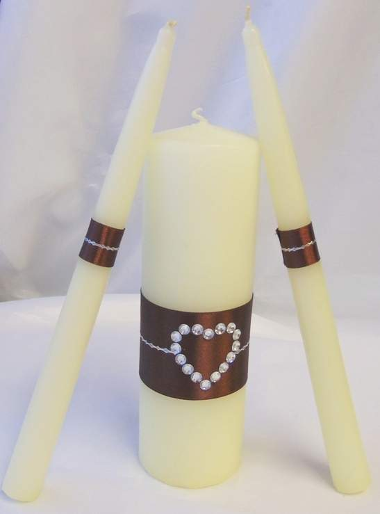 3 részes esküvői gyertyaszett strassz szívvel, barna
