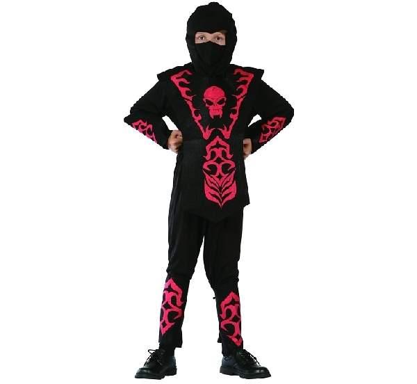 ninja gyerek farsangi jelmez fekete, piros díszítéssel (120-130 méret)-STCNC